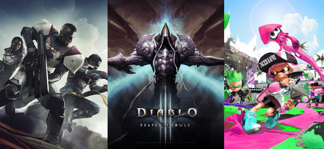 Destiny 2' to 'Diablo 3' to 'Splatoon 2'